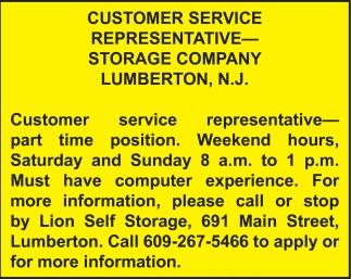 Customer Service Representative Lion Self Storage